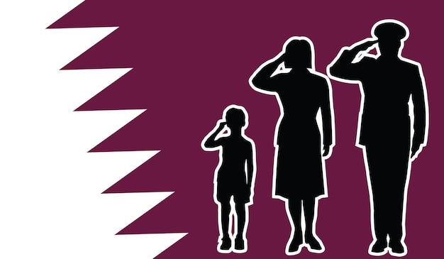La famille du soldat du qatar salue l'arrière-plan patriote