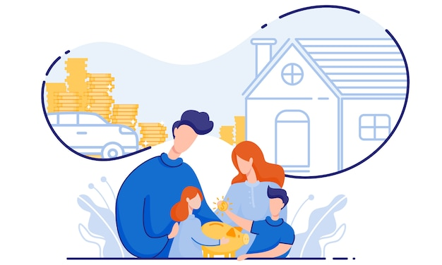 Famille économise de l'argent achat maison et voiture.