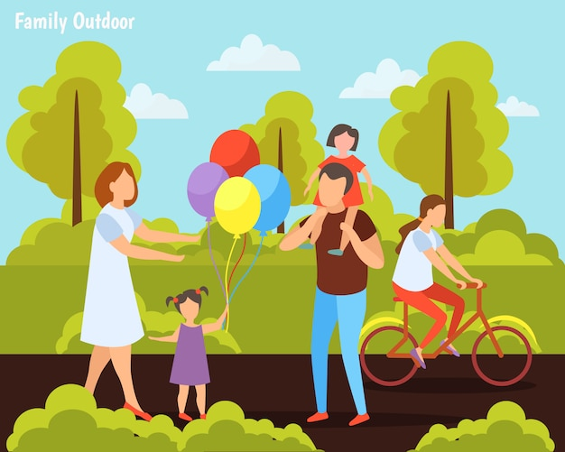 Famille avec enfants au parc