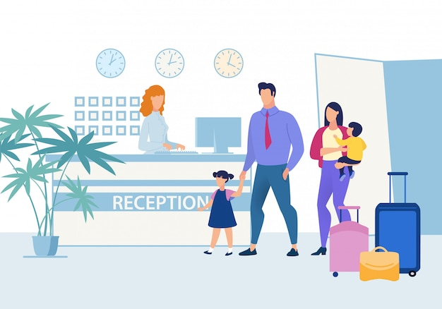 Famille avec enfants à la réception de l'hôtel