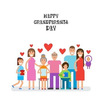 Famille ensemble heureux bannière de carte de voeux de jour de grands-parents