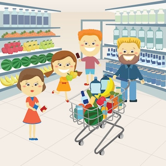 Famille à l'épicerie.