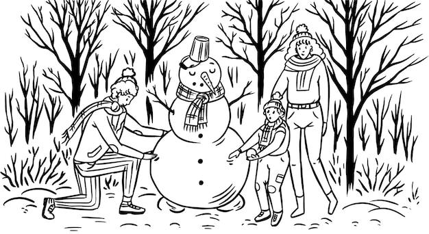 La famille fabrique un bonhomme de neige pour noël. maman papa bébé dans la forêt enneigée d'hiver. atmosphère chaleureuse