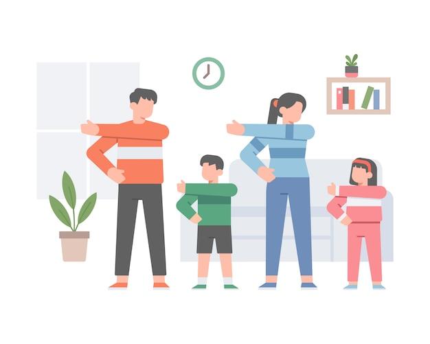 La famille fait de l'exercice ensemble à la maison pour être en bonne santé