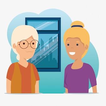 Famille familiale grand-mère et fille avec message social