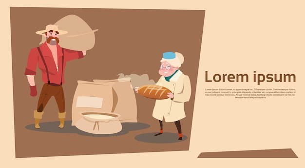 La famille farmers détient du pain frais au blé