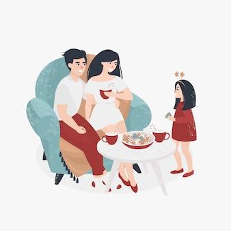 Famille fête noël à la maison