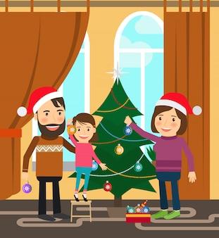 La famille fête les vacances d'hiver