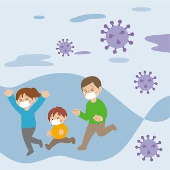 Famille fuyant les particules de coronavirus