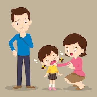 Famille garçon qui pleure réconfortant