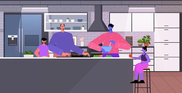Famille gay petits enfants préparant des aliments transgenres amour communauté lgbt concept cuisine intérieur horizontal pleine longueur illustration vectorielle