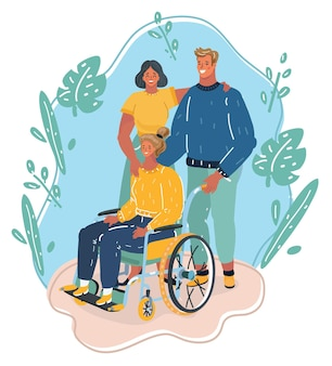 Famille ou groupe d'amis avec une fille handicapée en fauteuil roulant