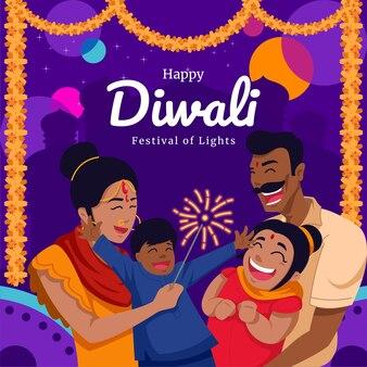 Famille heureuse au festival de diwali