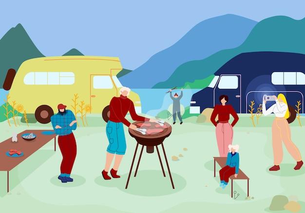 Famille heureuse ayant du temps libre avec barbecue.