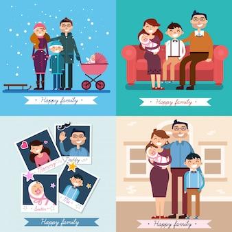 Famille heureuse avec bébé nouveau-né. ensemble d'illustrations vectorielles