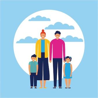 Famille heureuse avec des bébés, style plat