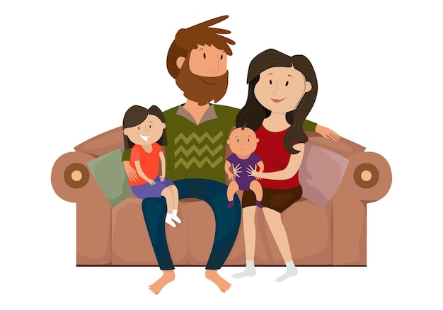 Famille heureuse sur le canapé
