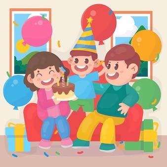 Une famille heureuse célèbre ensemble un anniversaire avec des cadeaux, des ballons et des gâteaux