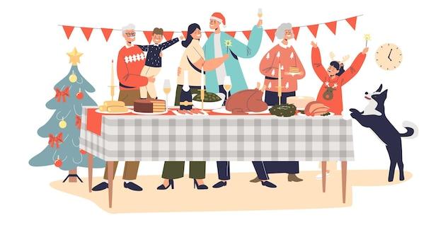 Une famille heureuse célèbre noël se réunissant à une table décorée pour le dîner de vacances