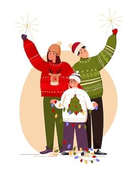 Une famille heureuse avec des cierges magiques se prépare pour les vacances joyeux noël et bonne année