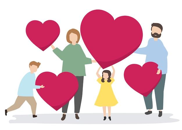 Famille heureuse avec des coeurs rouges