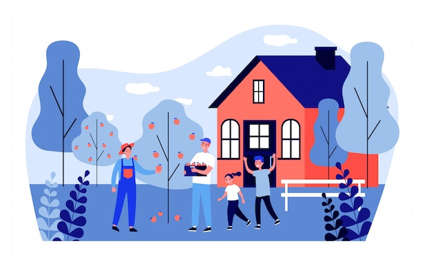 Famille heureuse, cueillette, pommes