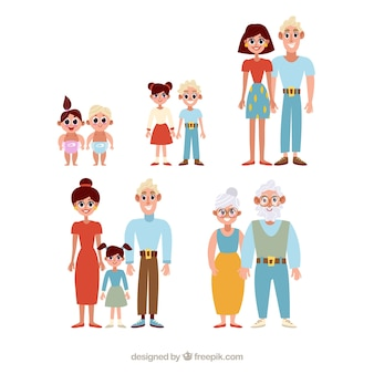 Famille heureuse dans les différentes étapes de la vie avec un design plat