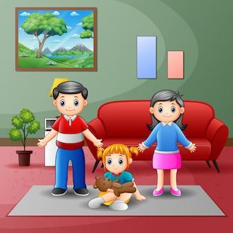 Famille heureuse dans le salon