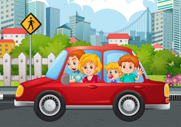 Famille heureuse, dans voiture