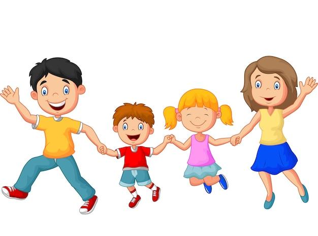 Famille heureuse de dessin animé agitant les mains