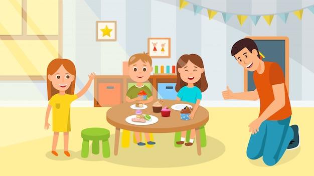 Famille heureuse de dessin animé ayant une collation sucrée de fête