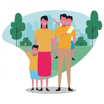 Famille heureuse de dessin animé, design coloré