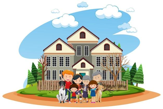 Famille heureuse devant la maison