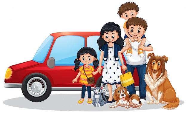 Famille heureuse, devant, voiture