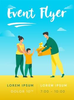Famille heureuse avec enfant adoptant un modèle de flyer pour animaux de compagnie