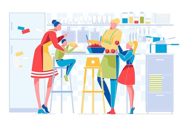 Famille heureuse avec enfants, routine quotidienne de cuisine