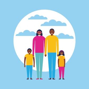Famille heureuse avec enfants, style plat