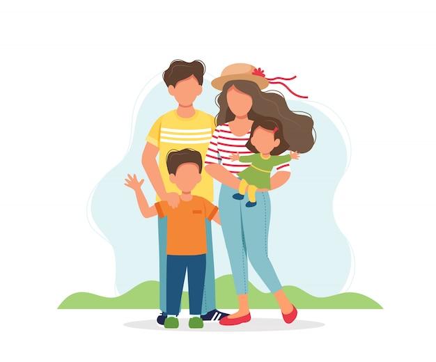 Famille heureuse avec enfants.