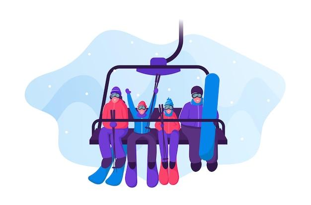 Famille heureuse avec équipement de ski et de planche à roulettes montée à l'ascenseur de remontée mécanique. illustration plate de dessin animé
