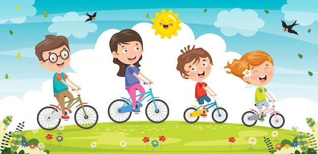Famille heureuse, équitation, bicyclette, ensemble