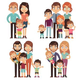 Famille heureuse. familles mère père enfant frère soeur relation traditionnelle génération société jeu de caractères plat