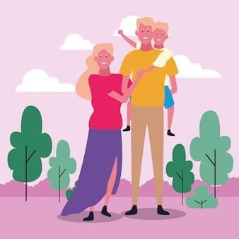 Famille heureuse avec fils, design coloré