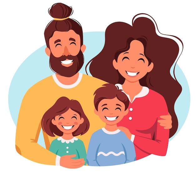 Famille heureuse avec fils et fille parents étreignant les enfants