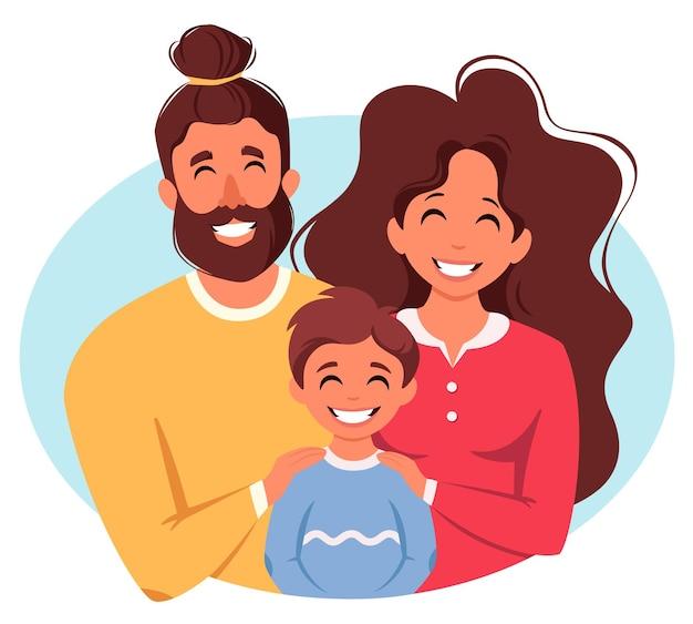 Famille heureuse avec fils