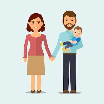Famille heureuse sur fond isolé