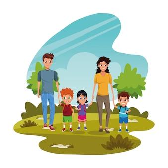 Famille heureuse, à, gosses, dans parc