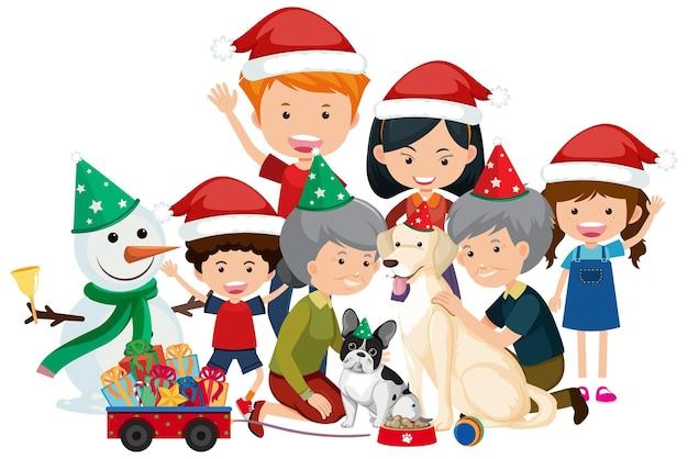 Famille Heureuse Isolée Célébrant Noël Vecteur Premium