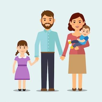 Famille heureuse isolée