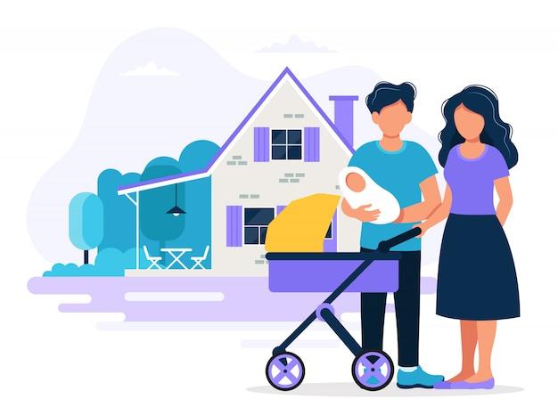 Famille heureuse avec maison. illustration de concept pour hypothèque, achat
