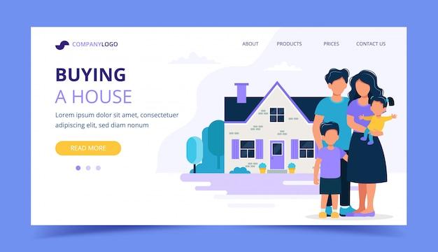 Famille heureuse avec maison. modèle de page de destination pour hypothèque, achat d'une maison, concept immobilier.